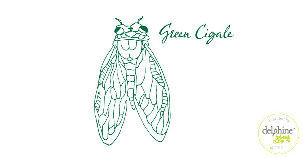 delphine graphic design studio green cigale logo