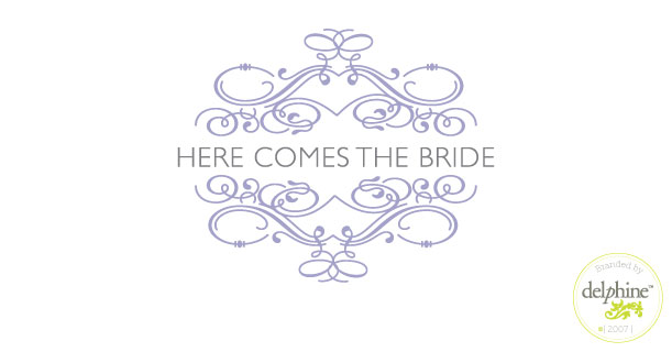 delphine graphic design studio here comes the bride logo