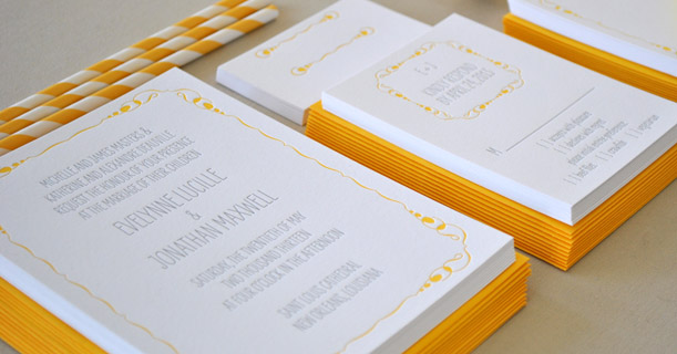 new orleans letterpress wedding invitations and rsvp cards custom printed in yellow and gray