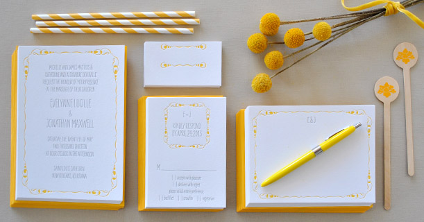 new orleans letterpress wedding invitation suite custom printed in yellow and gray