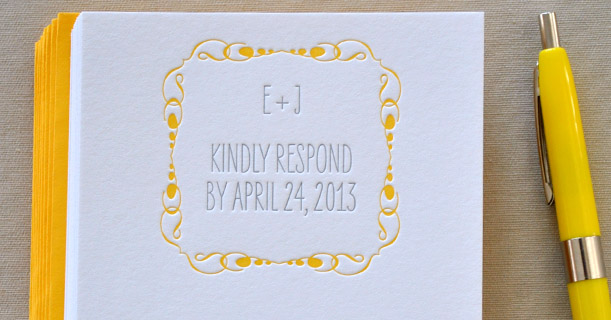 new orleans letterpress wedding invitation rsvp custom printed with yellow border