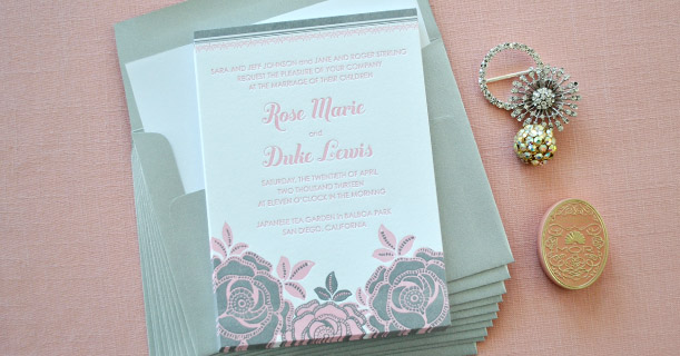 rose letterpress wedding invitations custom printed in gray and pink