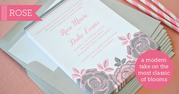 rose letterpress wedding invitations and stationery suite custom printed in pink