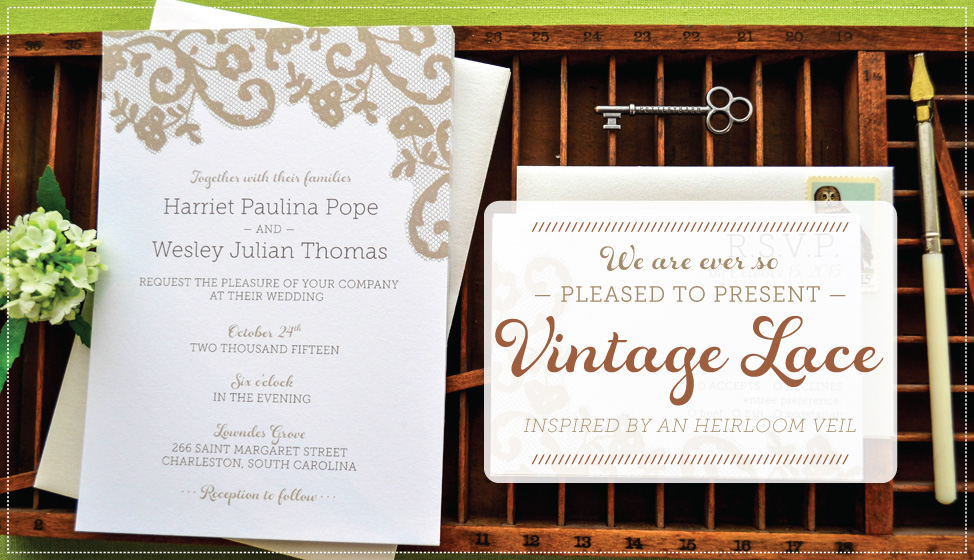 vintage lace wedding invitations by delphine