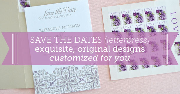 custom printed letterpress save the date cards