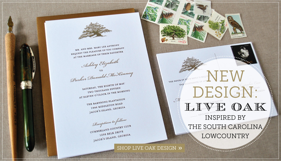 new live oak illustration wedding invitations by delphine
