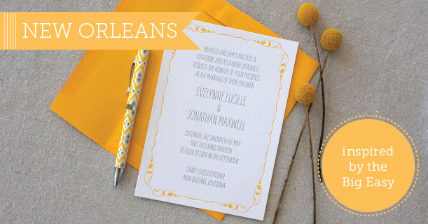 new orleans letterpress wedding invitations and stationery suite custom printed in yellow