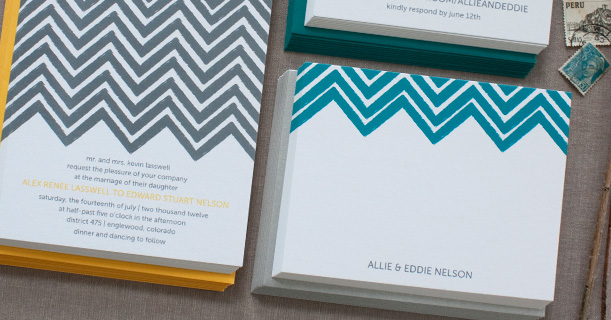 personal stationery chevron note cards custom printed in peacock blue
