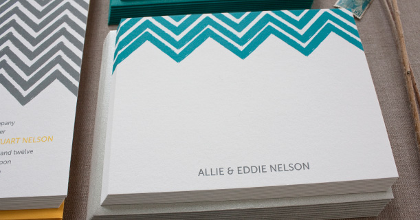 personal stationery custom printed chevron in peacock blue