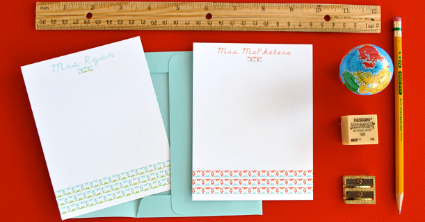 personal stationer madeline note cards custom printed in red, blue and green