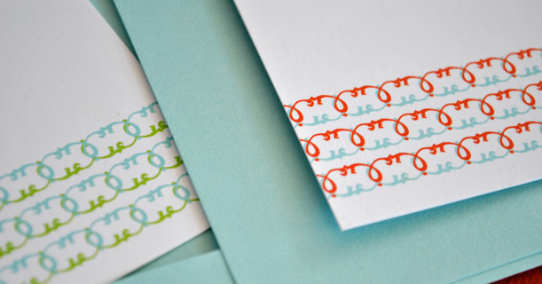 personal stationery custom printed madeline in red, blue and green