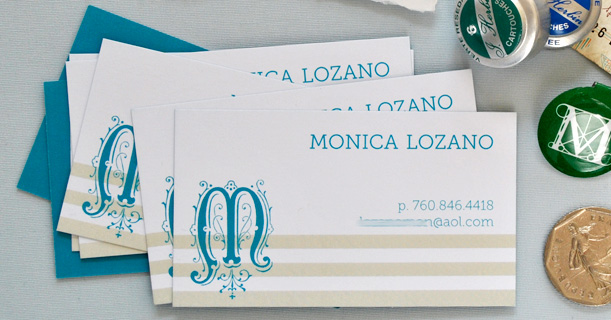 personal stationery custom printed monogram monica in tan and blue
