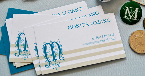 personal stationery custom printed monica monogram in blue and tan