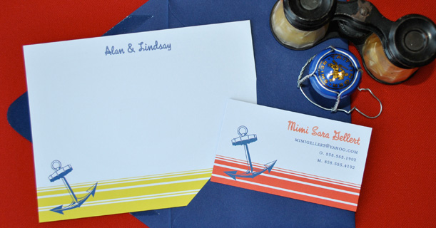 personal stationery custom printed newport in yellow, red and navy blue