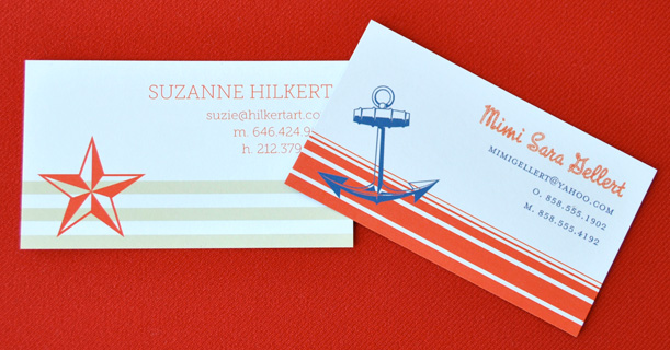 personal stationery custom printed newport in red, tan and navy blue