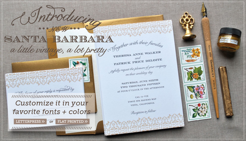 santa barbara wedding invitations by delphine