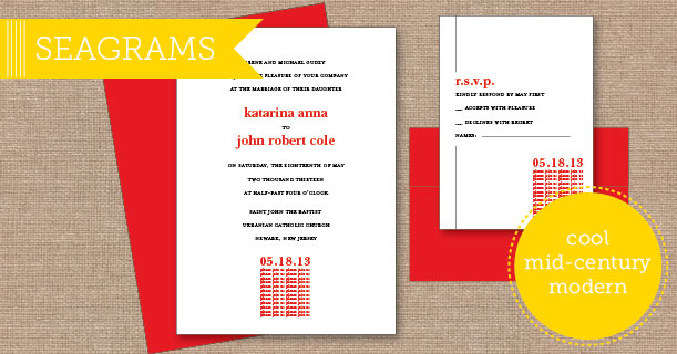 seagrams wedding invitations custom printed in red and black