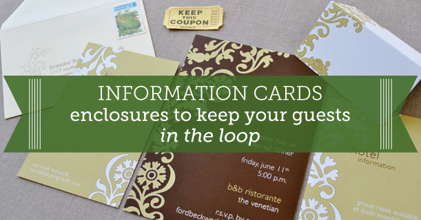 custom printed wedding info insert cards