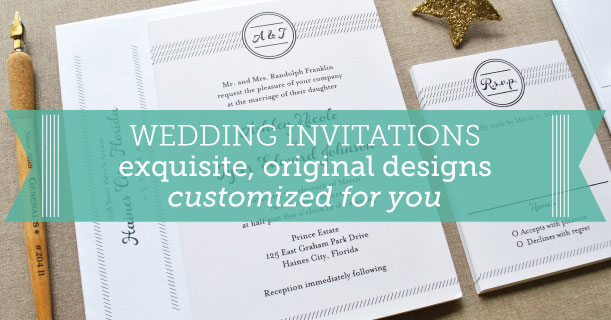custom printed wedding invitations and stationery