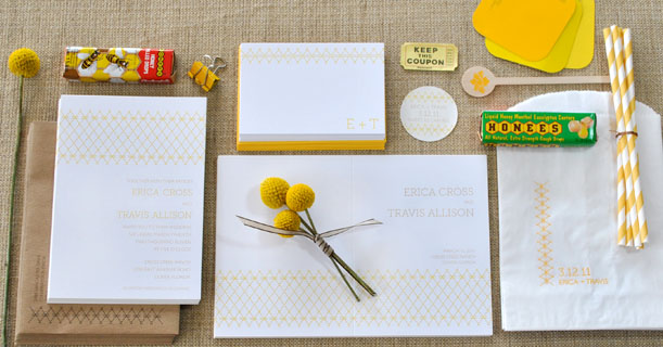 charleston stitch wedding invitations and stationery custom printed in yellow