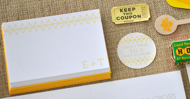 charleston stitch custom printed wedding invitations and stationery in yellow