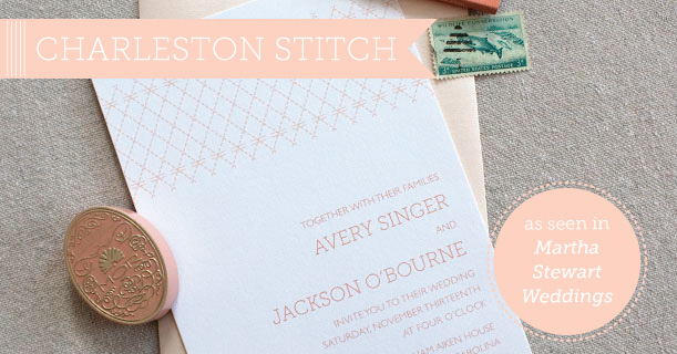 charleston stitch wedding invitations suite custom printed in pink