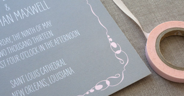 new orleans wedding invitations custom printed in gray, white and pink border
