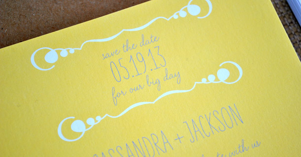 new orleans wedding invitations save the dates custom printed in yellow, gray and white