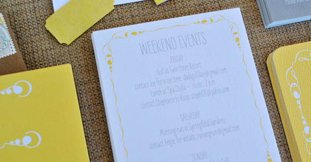 new orleans wedding invitations suite custom printed in gray, yellow and white