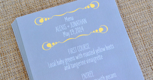 new orleans wedding invitations custom printed in yellow and white on gray