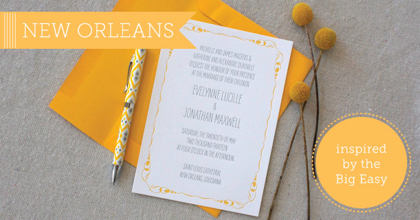 new orleans wedding invitations and stationery custom printed in yellow and gray