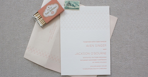 charleston stitch letterpress wedding invitation custom printed in pink