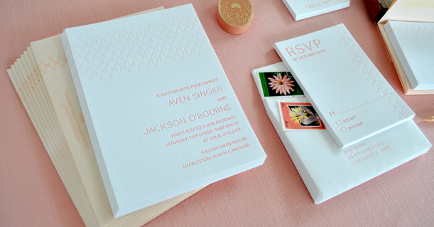 charleston stitch letterpress wedding invitations and rsvp custom printed in pink