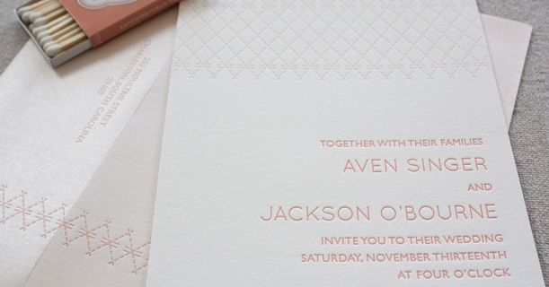 charleston stitch letterpress wedding invitations custom printed in pink pattern