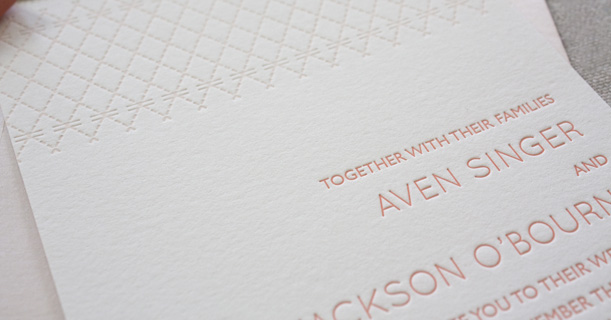 charleston stitch custom printed letterpress wedding invitations in pink