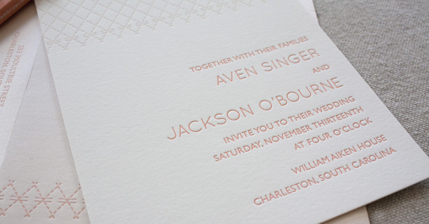 charleston stitch letterpress wedding invitations and envelopes custom printed in pink
