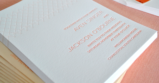 charleston stitch pink custom printed letterpress wedding invitations