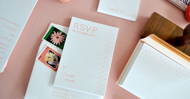 charleston stitch custom printed letterpress wedding invitations and rsvp cards in pink