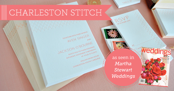 charleston stitch letterpress wedding invitations and stationery