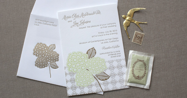 hydrangea letterpress wedding invitations custom printed in green and brown