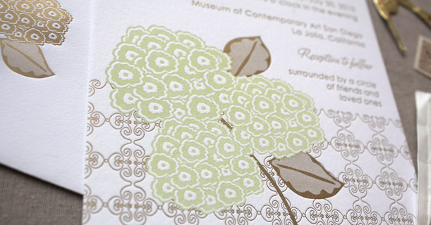 hydrangea letterpress wedding invitations custom printed in green flower brown pattern