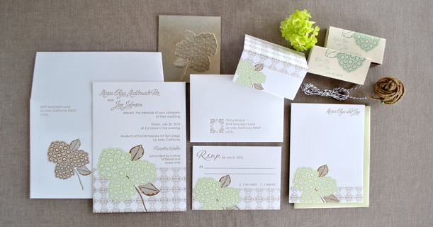 hydrangea letterpress wedding invitation suite custom printed in your colors