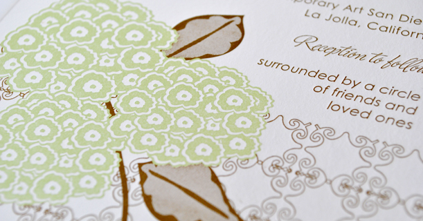 hydrangea custom printed letterpress wedding invites in green and brown