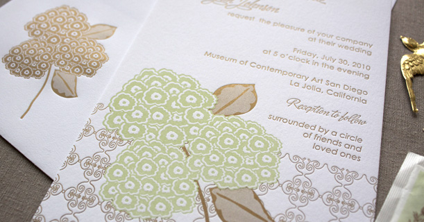 hydrangea letterpress invitations and envelopes custom printed in green and brown