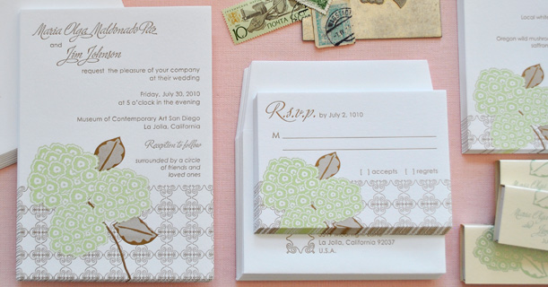 hydrangea letterpress wedding invitations and rsvp custom printed in brown and green