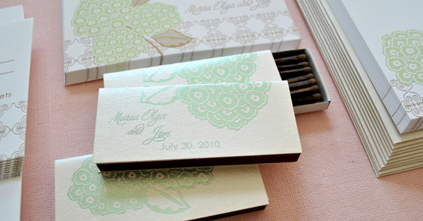 hydrangea custom printed letterpress wedding invitations and personal stationery suite