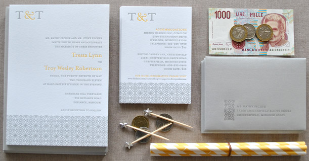 san francisco letterpress wedding invitations custom printed in yellow and gray