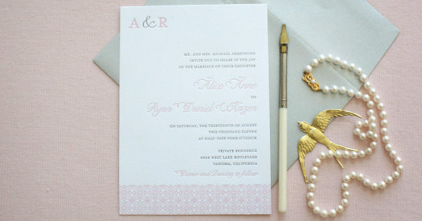 san francisco letterpress wedding invitations custom printed in pink