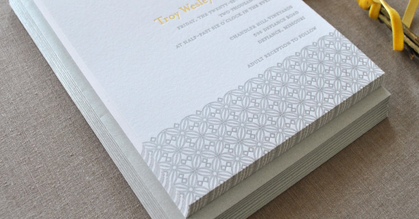 san francisco modern letterpress wedding invitations custom printed in gray pattern and yellow