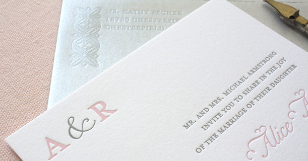 san francisco letterpress wedding invitations custom printed in pink and gray